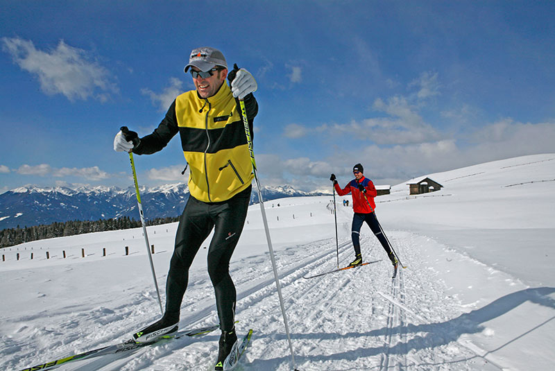 Cross-country skiing on the Alpe di Rodengo